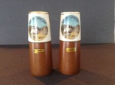Vintage Salt & Pepper Shakers Ceramic & Wood Mt. Rushmore/South Dakota