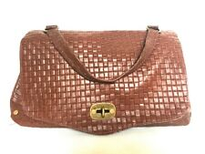 Borsa Donna Pelle Postino Mano Tracolla Bauletto Cuoio Marrone Leather Handbag