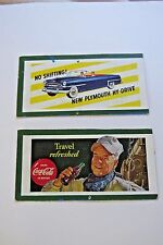 2 Vintage H-O Train Scale Billboards from 1950, Plymouth & Coke *