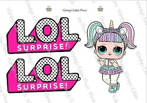 Unicorn Lol Doll & Logo Printed Cake/Cupcake Topper Edible Icing (Custom Order)