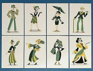 Set of 8 NEW Postcards 1920s Art Deco Style Characters Roaring 20s, Postcrossing
