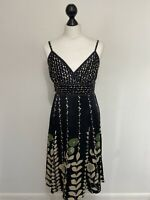 TED BAKER DRESS, 100% SILK, BLACK, CREAM & GREEN FLORAL, TED SIZE 3, UK 12