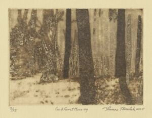 Cook Forest Morning original hand printed zinc plate photo transfer etching