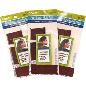 Lot of (3) Packs Conair Soft Touch Multi -Pack Bobby Pins 60 Brown Three Sizes