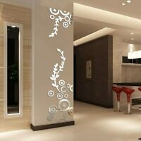 3D Circle Ring Acrylic Mirror Wall Sticker Home Living Room Decor Art Decals DIY
