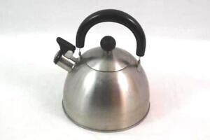 Stove Top Water Kettle Aluminum Black Handle Lid Silver Toned