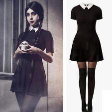 Women Black Short Sleeve Mini Dress Cosplay Fancy Dress Halloween Costume Gothic