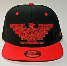 Black Red Aztec Chicano Huelga Bird Snapback Hat Red buttons Aztlan Under bill