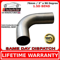 76mm 3 inch x 90 Degree Mandrel Exhaust Bend T409 Stainless Steel 1.5D1.5mm Wall