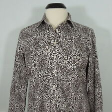 LAND'S END  Women's Paisley Shirt, Non-Iron Pinpoint Oxford Petites size 10P