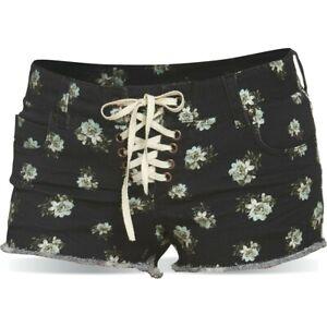Dakine Women's Hanalei Lace Up Low Rise Shorts Size 5 Mini Hula Print Black New