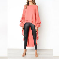 Women Blouse T Shirt Puffed Long Sleeves Tops Chiffon Vintage Tunic Asymmetrical