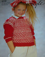 Original Knit with Style Pattern Child's DK Herringbone Patterned Sweater 0748