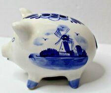 Vintage Delfts Blue Holland Ceramic Hand Painted Pig Piggy Bank