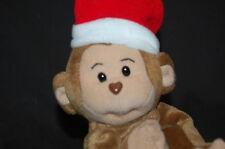 "Brown Chimp Monkey Santa Hat  Plush Stuffed Animal Lovey 6"" Sitting Enesco Corp"