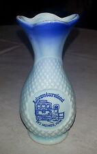 """Vintage Brechner Minature 4"""" Quilted Diamond Advertising Vase for Adventureland"""