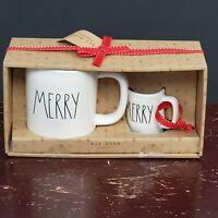 Rae Dunn MERRY Coffee Mug & Mini Espresso Mug LL Ornament Set New Hard to Find
