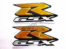 2Pcs Emblem Stickers Decal 3D Raise R-GSX For Suzuki GSXR1000 GSX-R 600 750 Gold