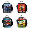 3D Roblox Thermal Insulated Picnic Lunch Bags Kid School Bag Set box school set