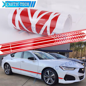 For Acura TSX TLX ILX MDX RDX Side Skirt Door Red Racing Sporty Vinyl Sticker