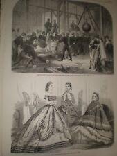 Artillerymen gun carriages Dublin Exhibition & Paris Fashions 1865 prints ref T