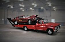 1970 Ford F-350 Ramp Tow Truck + 1966 Mustang Drag Racing NHRA collectible 1/64