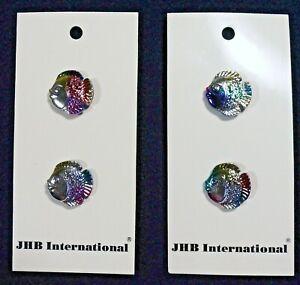 "Vtg 1990s JHB International CARDED Novelty BUTTONS Iridescent Fish 5/8"" Germany"