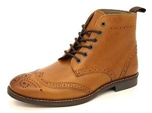 Mens Brogue Lace Up Leather Tan Brown Boots Ankle Size 7 8 9 10 11 12