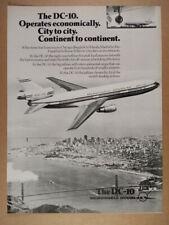 1976 McDonnell Douglas DC-10 jet airliner photo vintage print Ad
