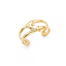 14K Solid Yellow Gold Dolphin Toe Ring Adjustable -Fish Polished Foot Band Women
