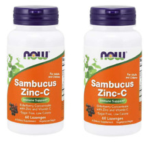 2 PACK - Now Foods Sambucus Zinc-C, 60 Lozenges BOOST IMMUNITY, STOP COLDS & FLU