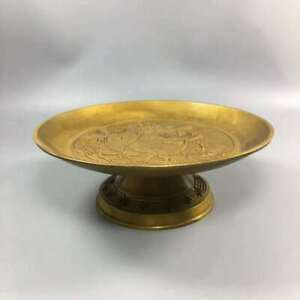 Chinese Exquisite Brass Lotus pattern fruit tray HT017@