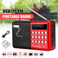 Portable Radio Handheld Digital Rechargeable FM USB TF Player Speaker f/ Parent