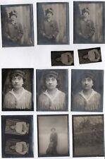 PHOTO ANCIENNE Lot 11 Photos Portrait Femme vers 1910 Chapeau Mode Robe Série