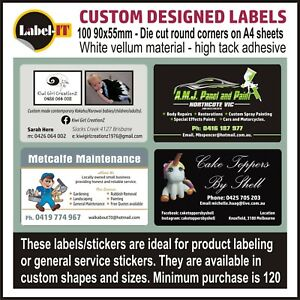 120 90x55mm BUSINESS CARD SIZE LABELS FREE POST USE AS PRODUCT LABELS