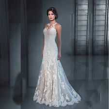 New Hot white/ivory mermaid Lace Wedding Dress custom size 6 8 10 12 14 16 18