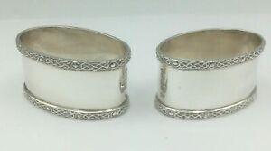 Fine Pair Of Silver Celtic Design Napkin Rings J B Chatterley Jubilee 1977 60g