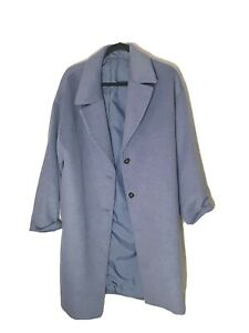 GU Store Japan Size L Blue Oversized Trench Coatigan Coat Button