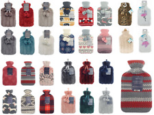 Large 2L Natural Rubber Hot Water Bottle Bag Warm Faux Fur Fleece Knitted Cover