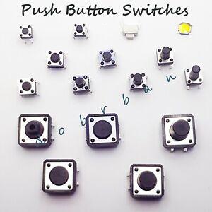 Push Click Tactile Switch PCB Round Button Black Momentary Small Mini Micro