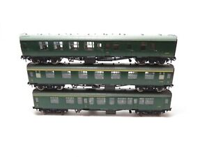 """Hornby OO Gauge SR Green Southern Coaches x3 """"S15567"""" """"S34642"""" """"S13003"""" Unboxed"""