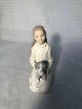 """Nao Girl Kneeling with Dog Figurine 7"""" Tall VGC (WH_12095)"""