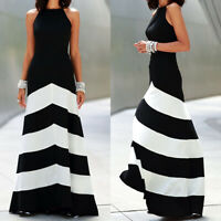 Plus Size Women Stripes Halter Evening Party Cocktail Prom Long Maxi Swing Dress