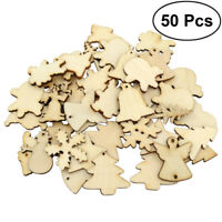 50X DIY Christmas Decorations Tree Wooden Blank Painting Craft Hanging Gift