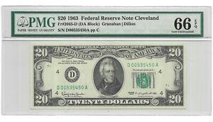 1963 $20 CLEVELAND FRN, PMG GEM UNCIRCULATED 66 EPQ BANKNOTE