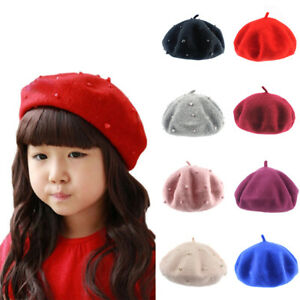 Wool Baby Hat with Pearls Candy Color Retro Baby Girl Beret Caps for 3-8 Years