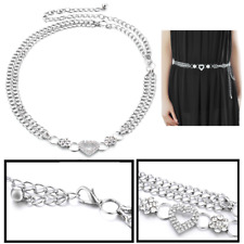 Women Silver Diamante Waist Belt with Heart and Floral Design Chain for Clothes