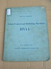 SYKES HV14 UNIVERSAL HOBBING MACHINE OPERATOR'S HANDBOOK