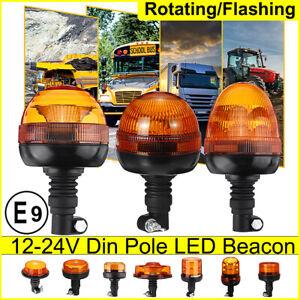 12/24V Rotating Flashing Amber Beacon Flexible DIN Pole Magnetic Warning  !!!