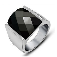 Sapphire Vintage Retro Stainless Steel Ring Men Boys Fashion Jewelry Square Onyx